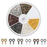 Coolrunner 6 Colors 600-1200Pcs Small Screw Eye Pins, Eye pins Hooks, Eyelets Screw Threaded Silver Clasps Hooks Eye Screws for Jewelry Making (600)