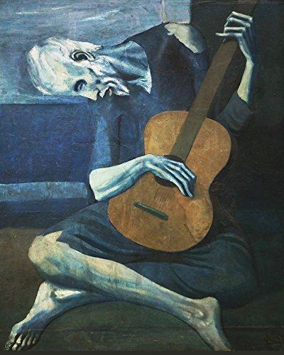 Wallbuddy Der alte Gitarrenspieler von Pablo Picasso 1903 Picasso Kunst Picasso Gemälde großes Gemälde modernes Gemälde Der Mann mit der blauen Gitarre Gemälde (40 x 50cm)