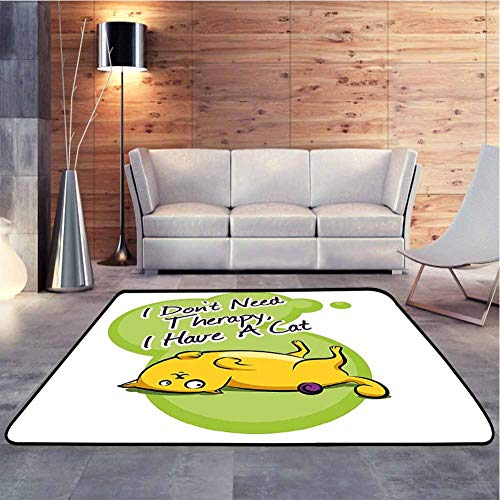 Nursery Rug Cat I Dont Need Therapy I Need a Cat Quote Humorous Illustration Green Anti-Static, Water-Repellent Rugs Decorative Floor and Best Gift for Children, 7 x 7 Feet