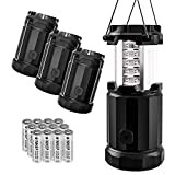 Etekcity Camping Lantern Battery Powered Led Lights with AA Batteries, Upgraded Magnetic Base and Brightness Control Flashlights for Power Outage, Backpacking, Hiking, Storms, Black, CL30-4 Pack