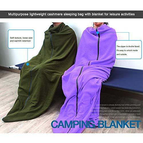 SDYDAY Sac de couchage, couverture de camping, couverture en polaire, isolant de survie, doublure de couette compacte, légère avec sac de rangement pour l'hiver, l'extérieur, la randonnée (vert kaki)