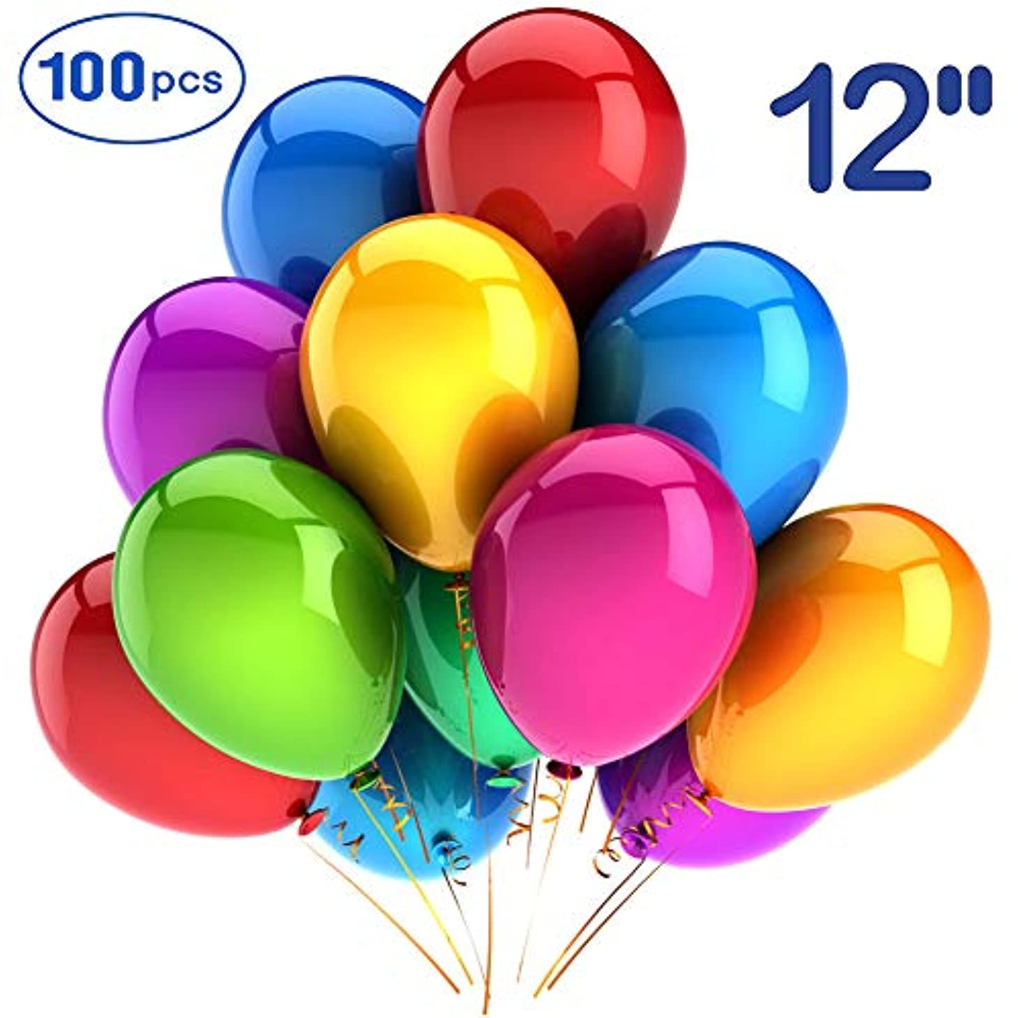 Party Balloons thick balloons 100 Pack 12 Inch Premium Assorted Color Rainbow Set Latex Helium Balloons for Party Birthday Weddings?