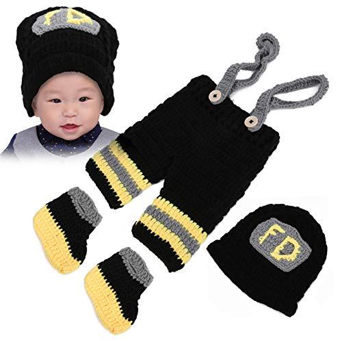 Accesorios de fotografía de bombero, accesorios de gancho de ganchillo, trajes de recién nacido de punto de bombero, sombreros de bebé, pantalones, accesorios de fotografía, para fotografía