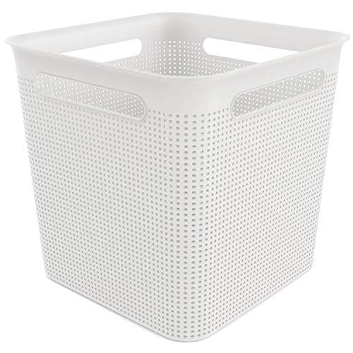 Rotho Brisen quadratische Aufbewahrungsbox 18l mit 4 Griffen, Kunststoff (PP) BPA-frei, weiss, 18l (29,1 x 29,1 x 28,1 cm)