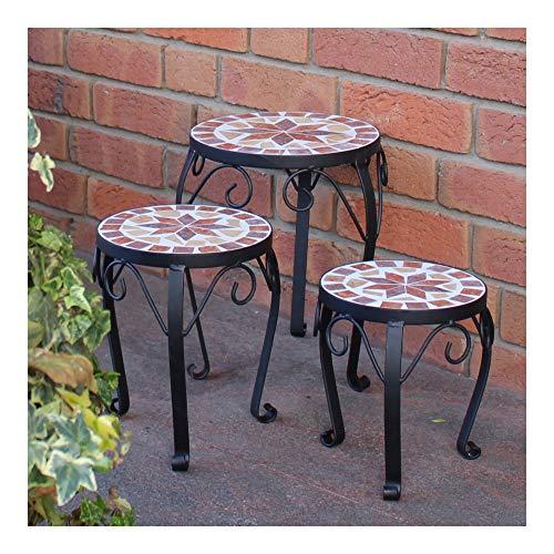 dszapaci Blumenhocker 3er Set Mosaik rund Garten Blumenständer Metall Terrasse Pflanzenständer Keramik Pflanzenhocker (3er Set)