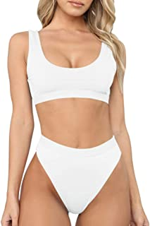 Women's Sexy High Waist Scoop Neck Bikini Swimsuit Bathing Suit