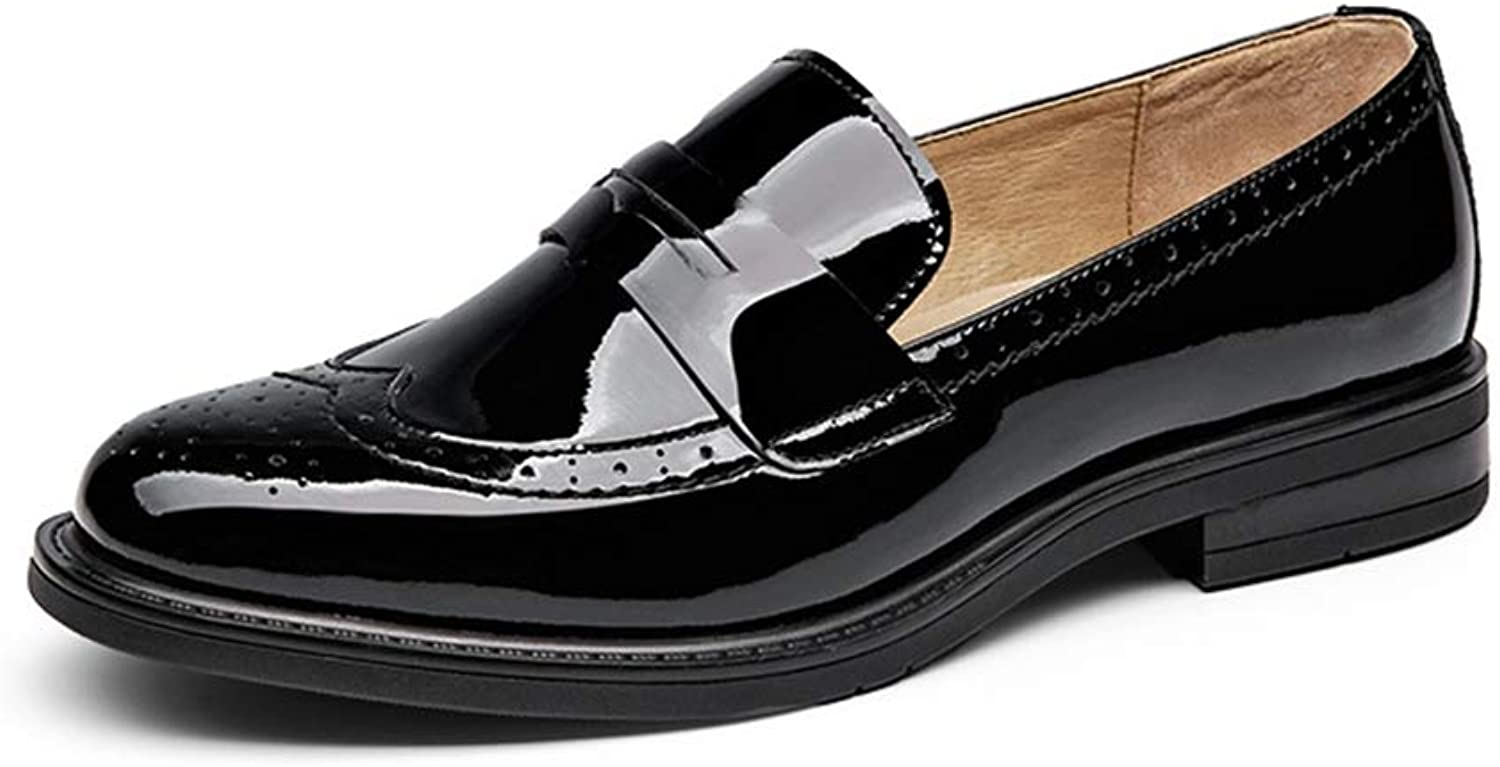 Women Genuine Cow Leather Round Toe shoes Patent Leather Flats Handmade