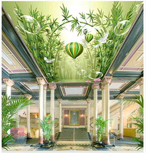 Muurschilderingen Aangepaste 3D Behang Groene Plant Bamboe Bos Lotus Ballon Plafond Mural Slaapkamer Woonkamer Eetkamer Achtergrond Wanddecoratie 250(w)x175(H)cm