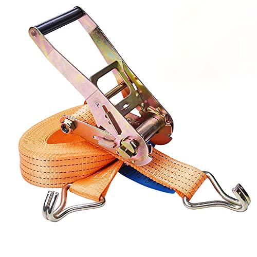 Correa de amarre con trinquete, hierro mango y gancho tipo J,10M*50mm, Capacidad nominal: 2000 kg, Capacidad: 4000 kg