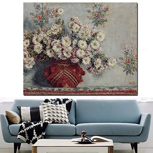 wZUN Impresión HD Naturaleza Muerta florero de crisantemo Salvaje Monet Flor Pintura al óleo sobre Lienzo Arte sofá Imagen de Pared 60x80 Sin Marco