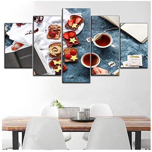 XXSCZ 5 Canvas Schilderijen 5 Stuk Canva Schilderij Marmelade Kaas Toast met Zwarte Thee Type Stijl Poster Moderne Dessert Of Keuken Decoratieve Muur Artwork 30x40 30x60 30x80cm Met Frame