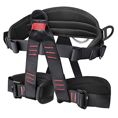 GABBRO Padded Climbing Harness Thickened Protect Waist Safety Harness, Wider Padding Half Body Harness for Rock Climbing Rappelling Tree Climbing Mountaineering Fire Rescuing