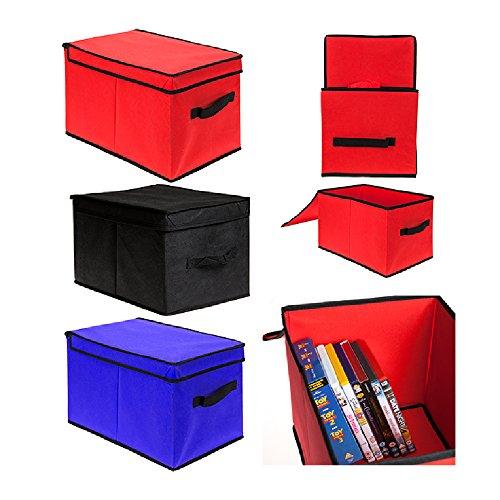 Krooom CP-PMS838005BUN3 Duurzame Set van 3 Heavy Duty Canvas Tote Opbergdoos met Deksel, Blauw & Zwart (Maat: 28 x 42 x 26cm), rood, Blauw, Zwart