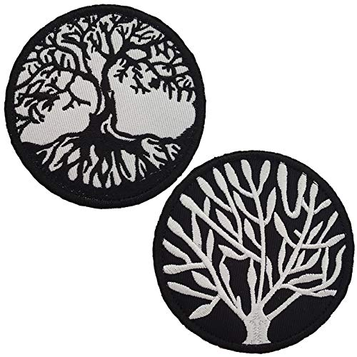 Lightbird 2 PCS The Tree of Life Patches, Sew on Patch, Hook & Loop Backing, High Density Embroidered Decorative Patch