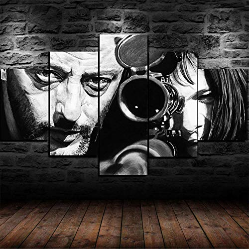 GIRDSSA Prints On Canvas ArtworkLeon The Professional Movie Léon 5 Piece Hd Wallpapers Art Canvas Print Modern Poster Modular Art Painting Living Room Home Decor