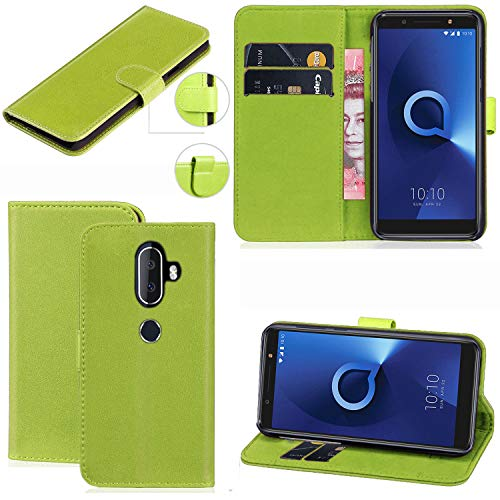 Alcatel 3V Hülle, Mobile Stuff Alcatel 3V Hülle [Kartenhalter] [Magnetverschluss] Premium Leder Flip Wallet Hülle Cover für Alcatel 3V Smartphone, Leder, grün, Galaxy A6+ (2018)