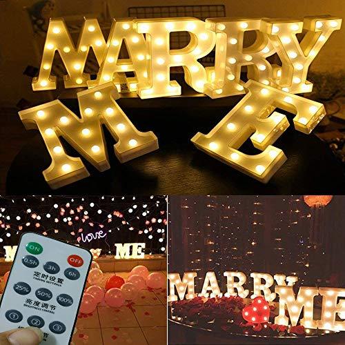 Ritayoyo LED-Leuchtbuchstabe mit Fernbedienung, Valentinstagsgeschenk, mit warmweißen LEDs, Aufschrift Will You Marry Me, Hochzeitsschild, Verlobungsschild, Romantisches Angebot.