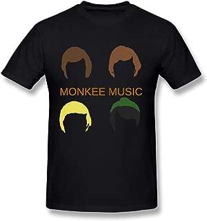 Hefeihe Monkees Music Logo DIY Men's Comfort Cool Crewneck Cotton Short Sleeve T-Shirt