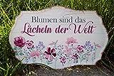 G.Handwerk Metall Schild 30x19cm - Blumen sind das Lächeln der Welt - Pink/Creme