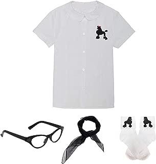 Girls 50s Costume Accessory Blouse - White Blouse w/Poodle Applique,Chiffon Scarf, Cat Eye Glasses,Poodle Socks