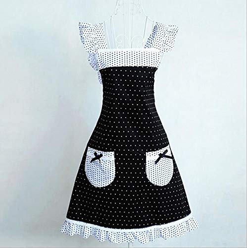 QYLLXSYY Princess Frill Lace Black White Polka Dot Kitchen Cooking Aprons for Women with Pockets Cross Back Apron Color  Polka Dot Size  One Size