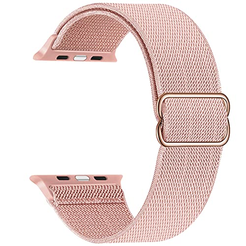 Adjustable Stretchy Band Compatible with Apple Watch 44mm 42mm 40mm 38mm, Solo Loop Sport Elastic Stretch Scrunchie Braided Cute Nylon Strap for iWatch SE 6 5 4 3 2 1, Men Women, Pink