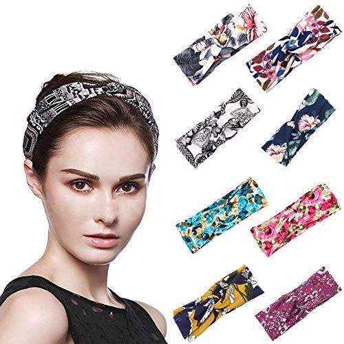 KFGJ 8 Piezas Bohemio de Banda de Pelo Floral para Mujer Niña,Pañuelo Elástico Trenzado Estilo Yoga Cabeza Wraps Deporte Turbante Bandas de Pelo Accesorios La Moda A1