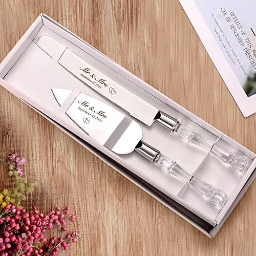 AW BRIDAL Cuchillo de pastel de bodas personalizado y juego de servidor - Regalo para aniversario, compromiso //DK001CPP06//