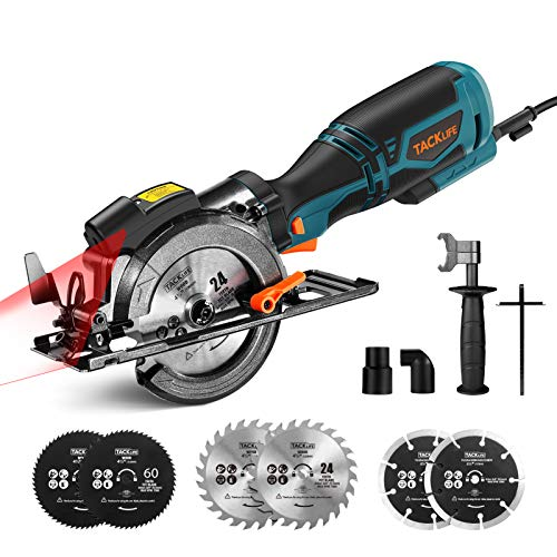 TACKLIFE Ideal Metal Handle Laser Circular Saw With 6 Blades for Wood, Soft Metal, Plastic- TCS115A