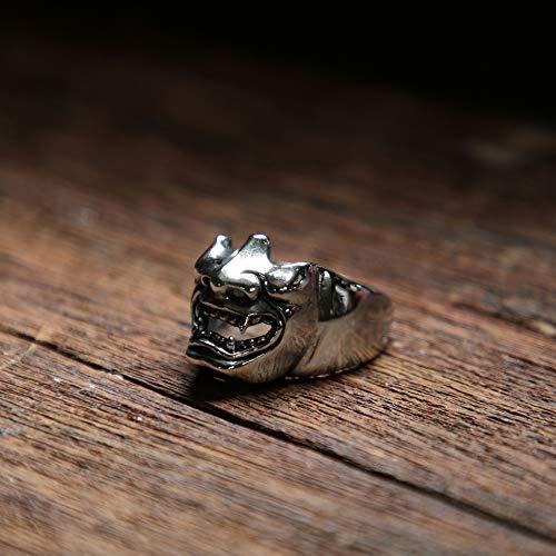 Samurai Mask Skull ring men sterling silver 925 Japanese warrior Biker gothic celtic