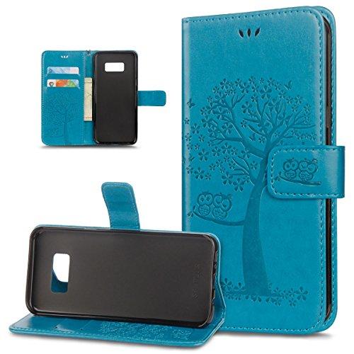 ikasus Coque Galaxy S6 Etui Motif relief d'arbre deux hiboux Cuir PU Housse Etui Coque Portefeuille supporter Carte de crédit Poches Flip Case Etui Housse Coque pour Galaxy S6,Bleu