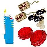 Bundle - 7 Items - Hemplight Hemp Wick Lighter Case Wrapper, Raw Natural Unbleached Hempwick Rolls, Brass Tobacco Pipe Screens, Large Acrylic Grinder - for Mini Bic Lighter