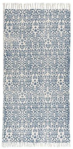 IB Laursen Teppich, 100% Baumwolle, 60 x 180 cm, Weiß/Blau