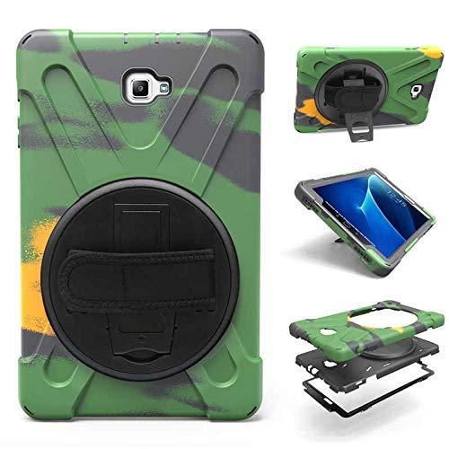 HHF Tab Accesorios para Samsung Galaxy Tab A A6 10.1 SM-T580 T585, correa de mano 360 rotación soporte funda armadura cubierta para Samsung T580 T585 (color verde ejército)