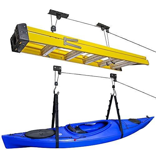 RaxGo Kayak Hoist & Bike Ceiling Hoist Pulley System, Garge Storage Hanger Rack for Canoes, Paddleboards, Boats, Bicycles, Ladder's, Heavy Duty 121 Lb. Capacity, Pack of 2 Overhead Rack's