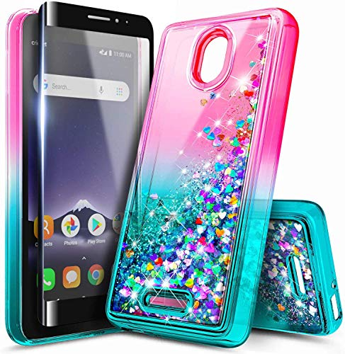 NZND Case for Alcatel TCL A1 (4G LTE, A501DL) / Alcatel Insight (5005R) with Tempered Glass Screen Protector (Full Coverage), Glitter Liquid Floating Waterfall Durable Girls Cute Case -Pink/Aqua