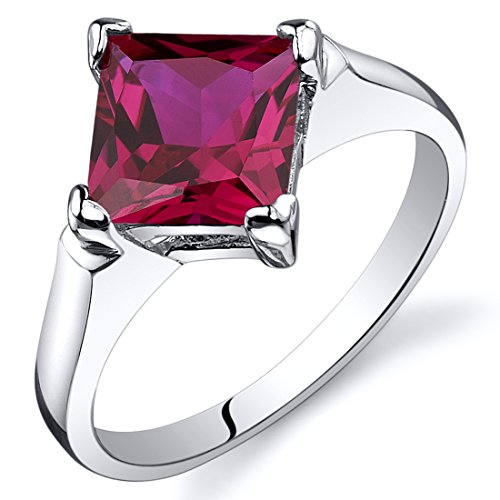 Created Ruby Engagement Ring Sterling Silver 2.25 Carats Size 7