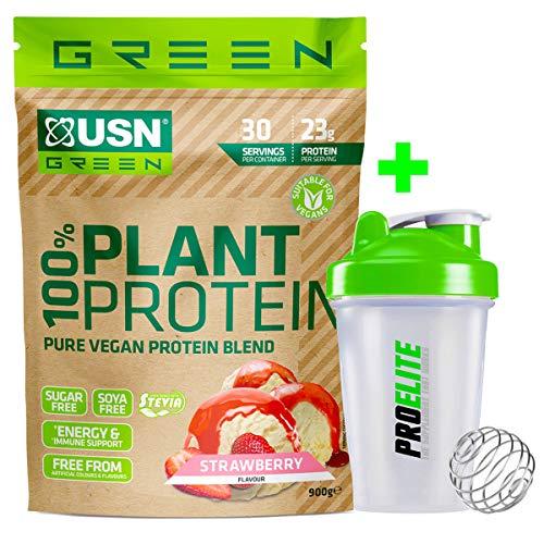 USN Green 100% Plant Protein 900g Pure Vegan Protein Blend (Pea + Brown Rice + Hemp Protein) Sugar & SOYA Free + Shaker (Strawberry)