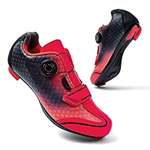 MEBIKE Womens Road Cycling Shoes Lady Look Delta Bike Shoes Womens Indoor Cycling Shoes Lock MTB Bicycle Cycling Shoes for Women (Numeric_10) Fuchsia/Black