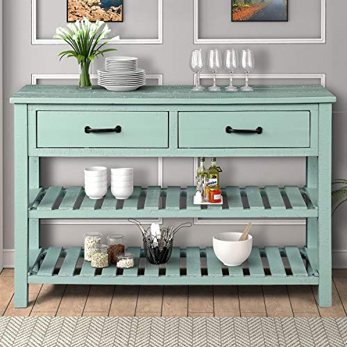 Console Sofa Table with 2 Storage Drawers and 2 Tiers Shelves, Modern 45'' Solid Wood Buffet Sideboard for Living Room Furniture Kitchen Dining Room Entryway Hallway, Antique Blue
