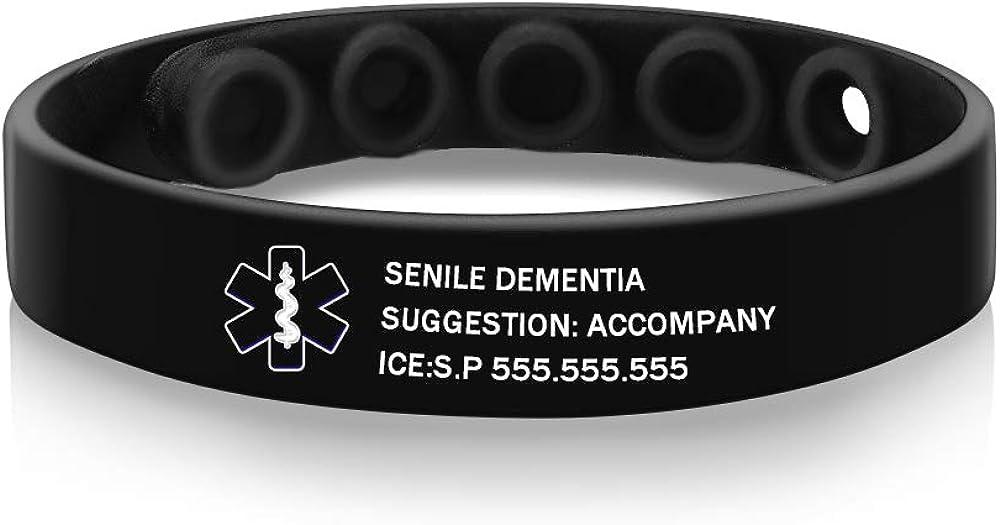 Personalized Medical Bracelet Max 77% OFF Custom Superlatite Brac Silicone Alert
