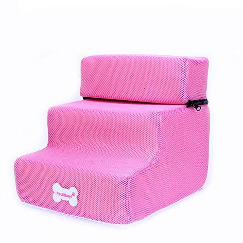 ZHTX Hunde-Treppen-Treppenhund-Treppen-Hundestufen-Treppenhaus-Treppenhaus (Color : Pink, Size : Three Layers)