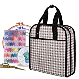YARWO Embroidery Bag, Embroidery Projects Storage with Multiple Pockets for Embroidery Hoops (Up to 12'), Embroidery Floss and Supplies, Gray Dots (Bag Only, Patented Design)