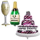 JVSISM Globos Grandes para Fiestas de Cumplea?os, Juego de 3 – Torta - Champán, Formas de Vaso Y Botella - por