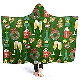 Mantas con Capucha, Navidad Novedad Sherpa Plush Fleece Wele Throw Manta