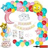 Ulikey Decoración de Cumpleaños Pastel para Niña, Cumpleaños Tema del Cielo con Pancarta de Happy Birthday, Arco Nubes Cielo Estrella Globos de Fiesta para Fiesta de Cumpleaños Decoraciones
