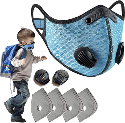 PIPITREE Kids Dust Mask Filter Sports Face Activated Carbon Dustproof Cover for Boys and Girls