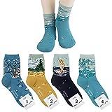 Vincent Van Gogh, Sandro Botticelli, Claude Monet Zeichnung Kunst Socken Damen Mannschafts Socken 4 Paaren