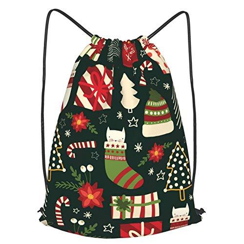 Lindo cordón de impresión de Navidad Bapa Sapa bolsa de cuerda Cinch impermeable nylon bolsa de playa para gimnasio compras deporte yoga