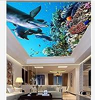 HGFHGD 3D天井の壁紙オーシャンドルフィンコーラルリビングルーム天井の壁アールデコ天井の背景壁画の壁のステッカー
